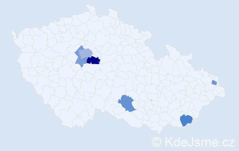 Příjmení: 'Dvorak', počet výskytů 10 v celé ČR