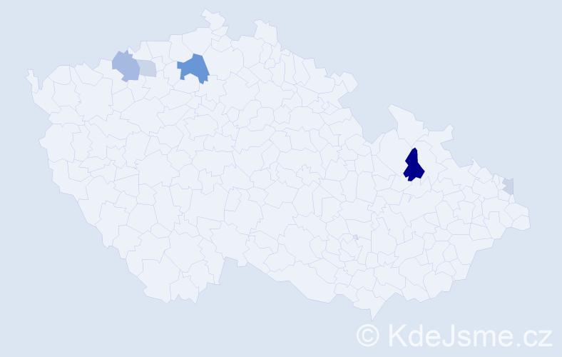 Příjmení: 'Ftáčková', počet výskytů 11 v celé ČR