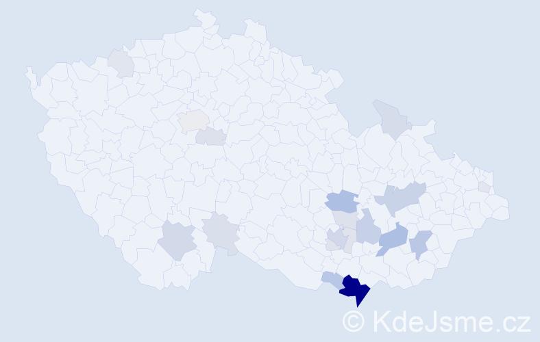 Příjmení: 'Kurialová', počet výskytů 64 v celé ČR