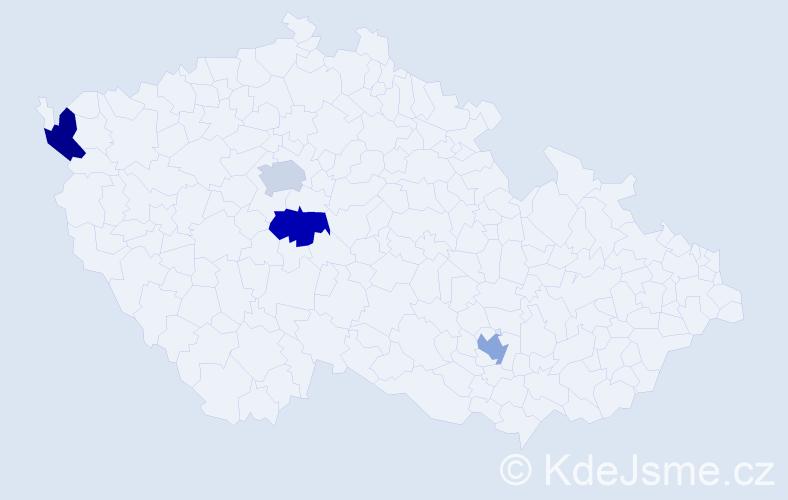 Příjmení: 'Botev', počet výskytů 4 v celé ČR