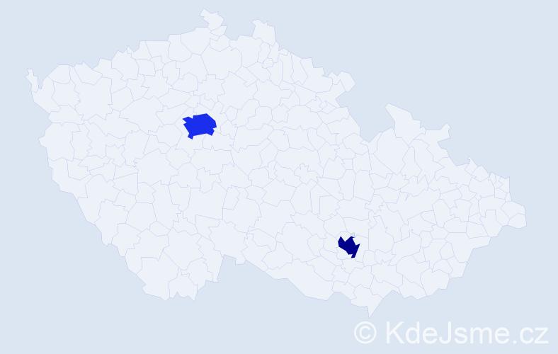Příjmení: 'Frel', počet výskytů 3 v celé ČR