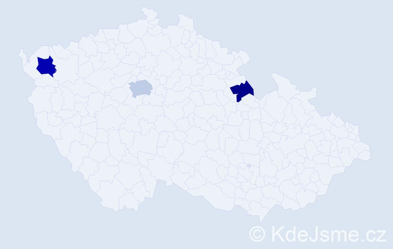 Příjmení: 'Dawidko', počet výskytů 5 v celé ČR