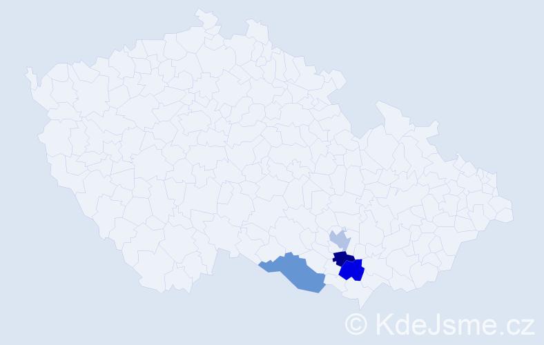 Příjmení: 'Derbl', počet výskytů 4 v celé ČR