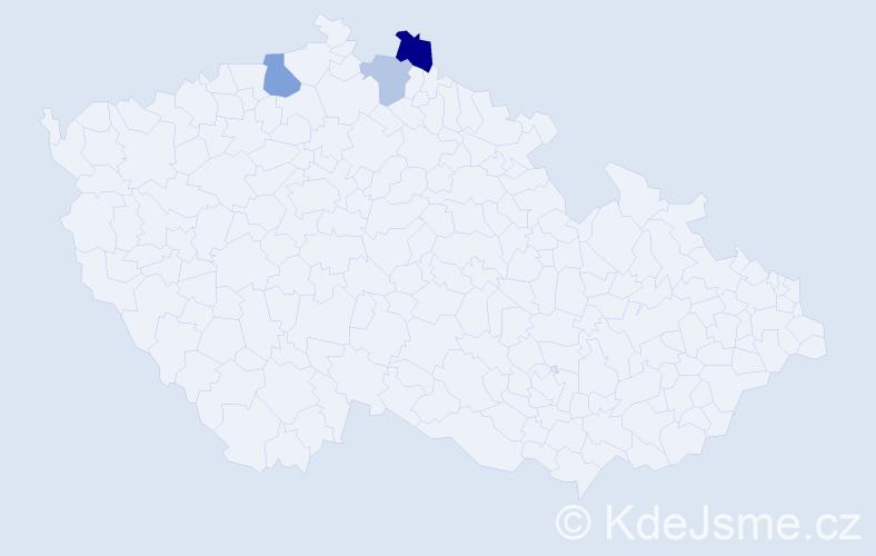 Příjmení: 'Čindejevová', počet výskytů 5 v celé ČR