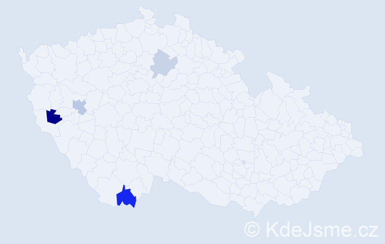 Příjmení: 'Baštura', počet výskytů 7 v celé ČR