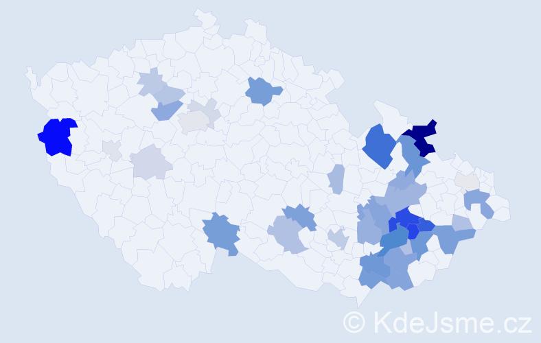Příjmení: 'Flora', počet výskytů 119 v celé ČR