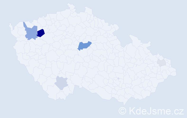 Příjmení: 'Jakobiová', počet výskytů 9 v celé ČR