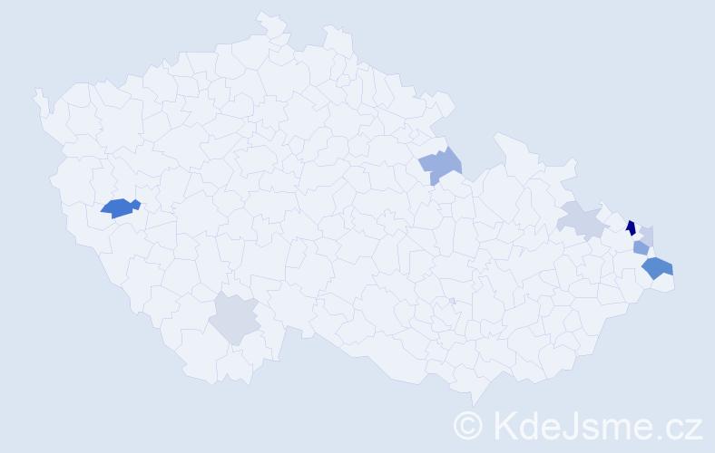Příjmení: 'Banas', počet výskytů 18 v celé ČR