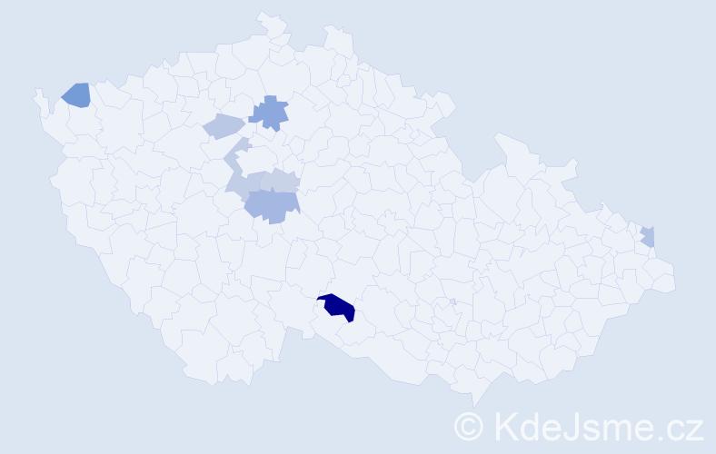 Příjmení: 'Hricík', počet výskytů 14 v celé ČR