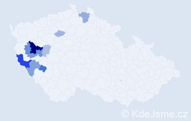 Příjmení: 'Bittenglová', počet výskytů 29 v celé ČR