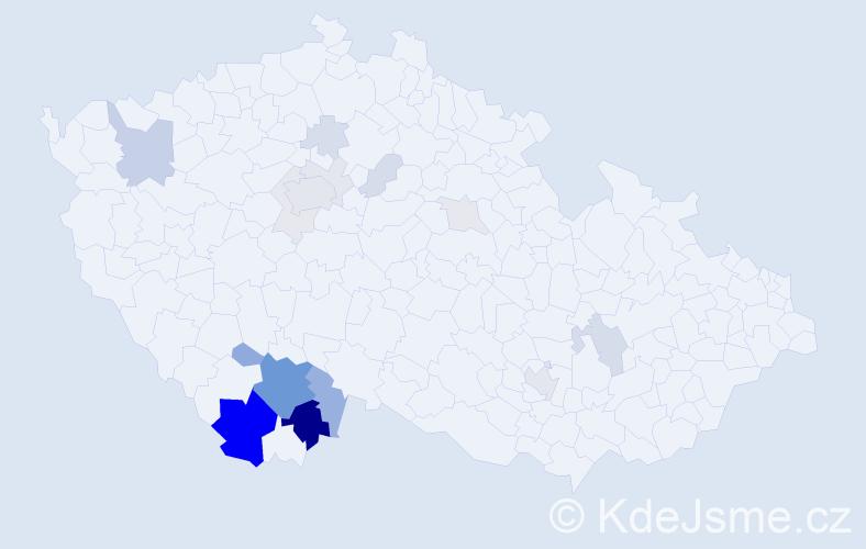 Příjmení: 'Ciml', počet výskytů 64 v celé ČR