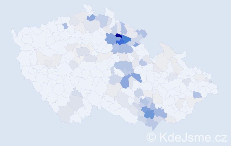 Příjmení: 'Hamanová', počet výskytů 411 v celé ČR