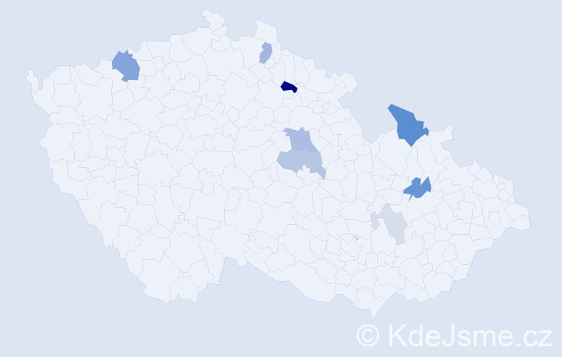 Příjmení: 'Gottšteinová', počet výskytů 21 v celé ČR