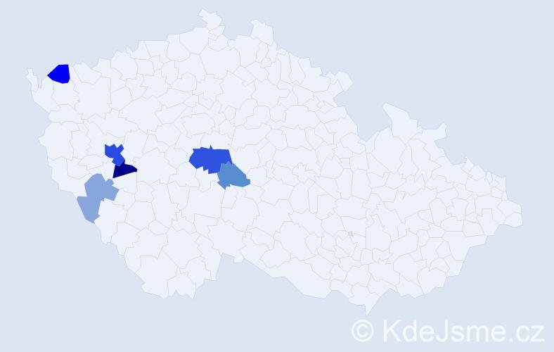 Příjmení: 'Grůber', počet výskytů 14 v celé ČR