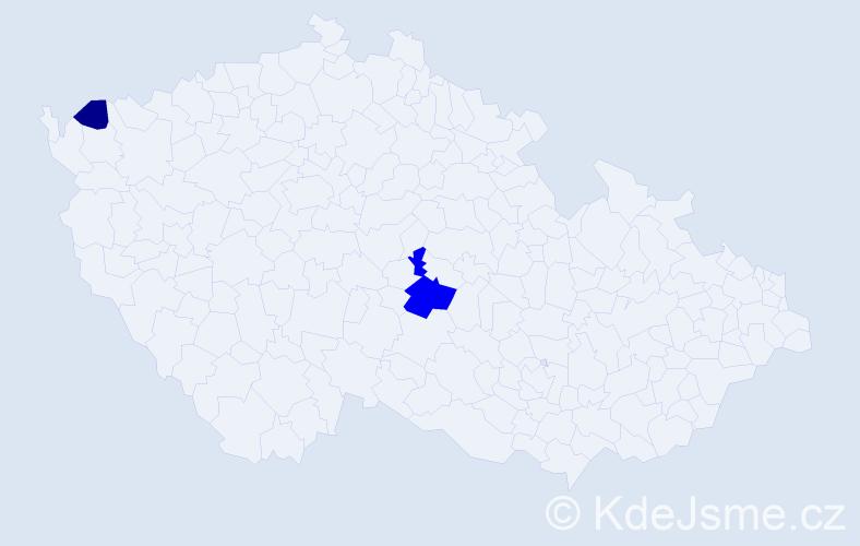 Příjmení: 'Krajčinovská', počet výskytů 4 v celé ČR
