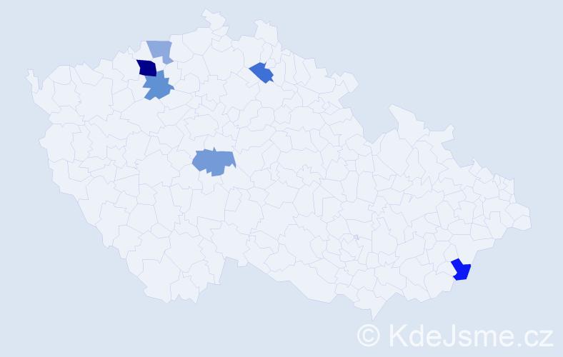 Příjmení: 'Adamenko', počet výskytů 9 v celé ČR