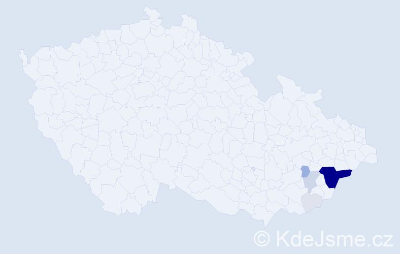 Příjmení: 'Děckuláčková', počet výskytů 40 v celé ČR