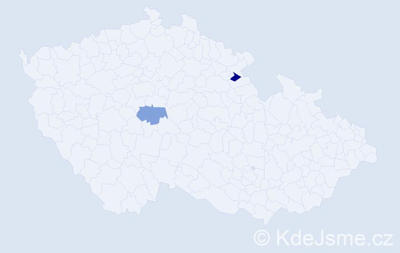 Příjmení: 'Laubacherová', počet výskytů 2 v celé ČR