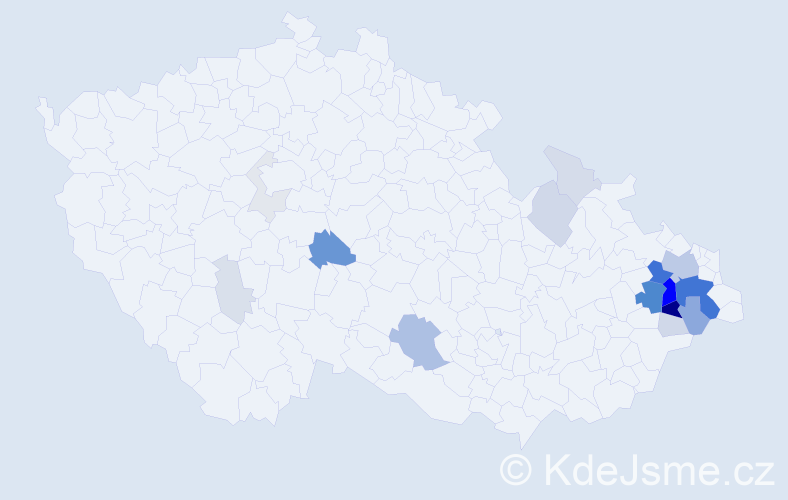 Příjmení: 'Ermisová', počet výskytů 83 v celé ČR