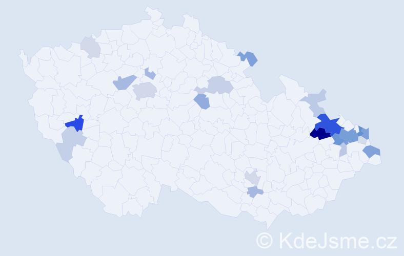 Příjmení: 'Kowalski', počet výskytů 70 v celé ČR