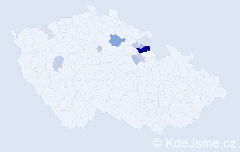 Příjmení: 'Kotyška', počet výskytů 23 v celé ČR