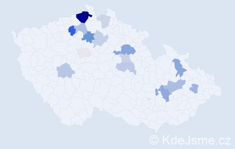 Příjmení: 'Klaudyová', počet výskytů 30 v celé ČR