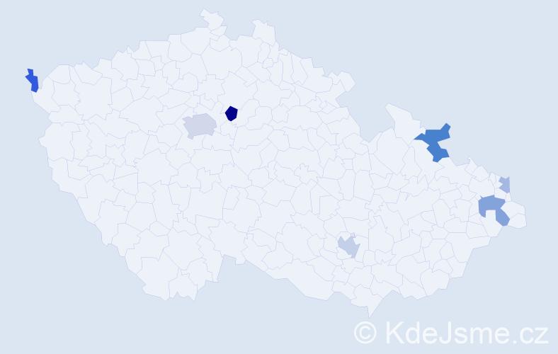 Příjmení: 'Konstantinidis', počet výskytů 14 v celé ČR