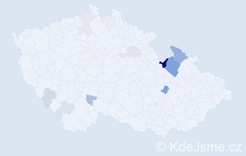 Příjmení: 'Konyarik', počet výskytů 35 v celé ČR