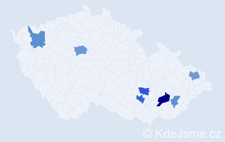 Příjmení: 'Bieberová', počet výskytů 18 v celé ČR