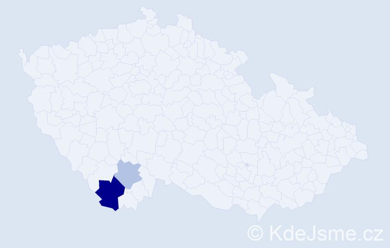 Příjmení: 'Esslová', počet výskytů 4 v celé ČR