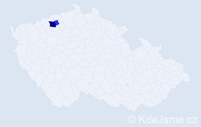 Příjmení: 'Ickert', počet výskytů 6 v celé ČR