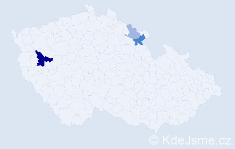 Příjmení: 'Havalec', počet výskytů 9 v celé ČR