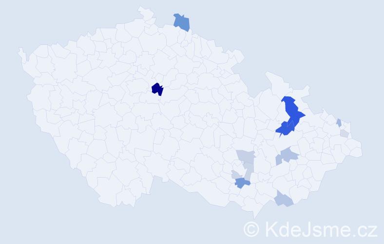 Příjmení: 'Horniaček', počet výskytů 23 v celé ČR
