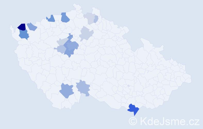 Příjmení: 'Klomínek', počet výskytů 49 v celé ČR
