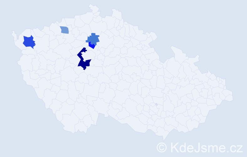 Příjmení: 'Jurdíková', počet výskytů 9 v celé ČR