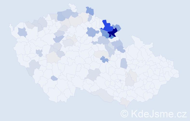 Příjmení: 'Kejzlarová', počet výskytů 225 v celé ČR