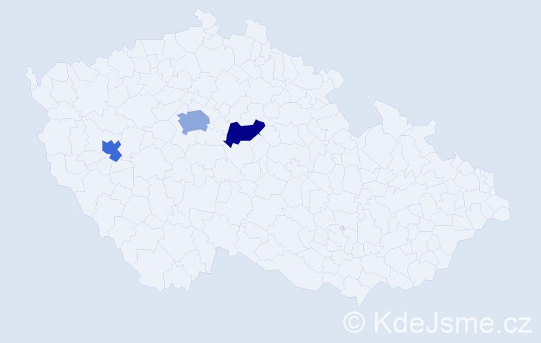 Příjmení: 'Anastasov', počet výskytů 4 v celé ČR