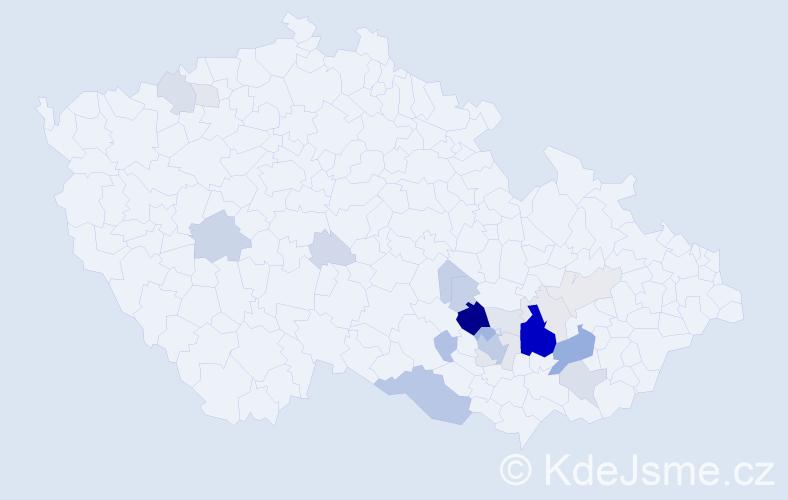Příjmení: 'Harásek', počet výskytů 85 v celé ČR