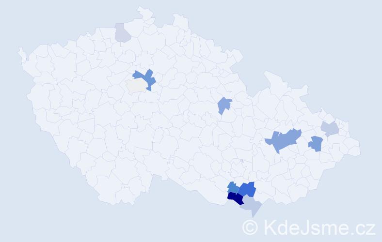 Příjmení: 'Kolla', počet výskytů 24 v celé ČR