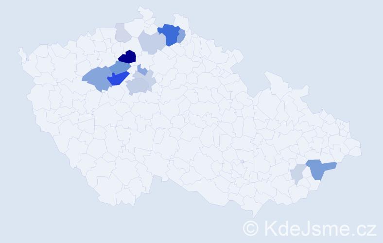 Příjmení: 'Cinibulková', počet výskytů 47 v celé ČR