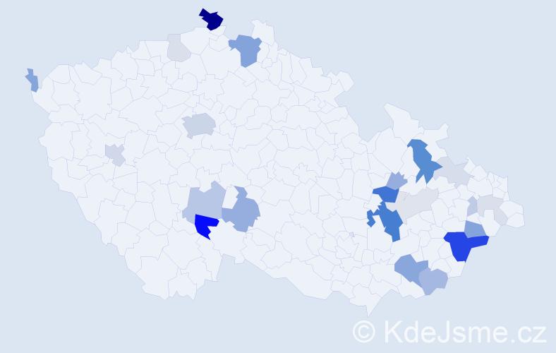 Příjmení: 'Hapl', počet výskytů 78 v celé ČR