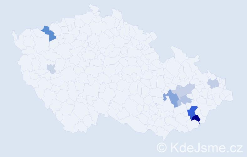 Příjmení: 'Čmeláková', počet výskytů 16 v celé ČR
