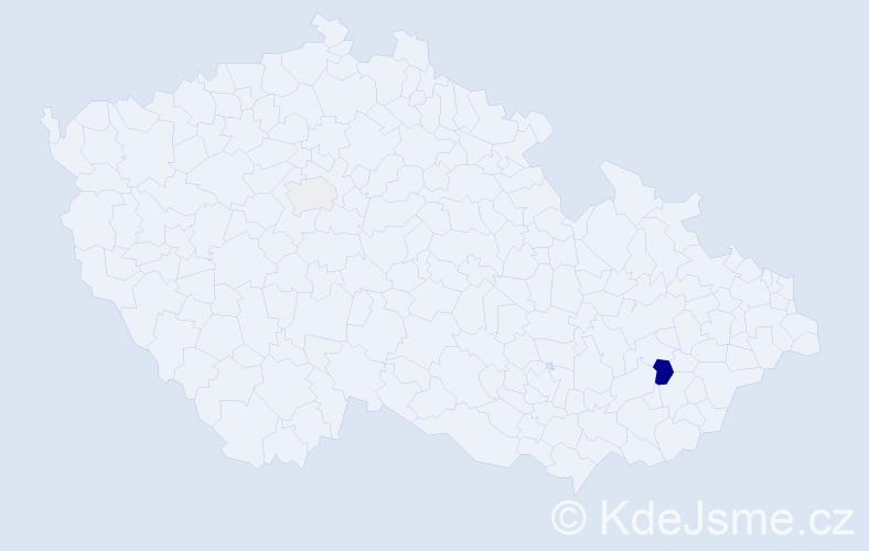 Příjmení: 'Bachnerová', počet výskytů 5 v celé ČR