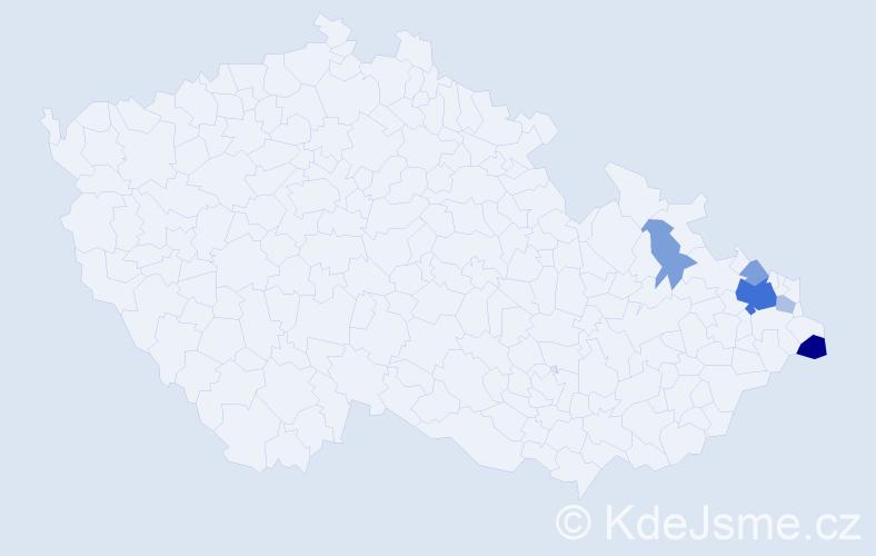 Příjmení: 'Jastřembská', počet výskytů 15 v celé ČR