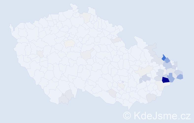 Příjmení: 'Kretková', počet výskytů 251 v celé ČR