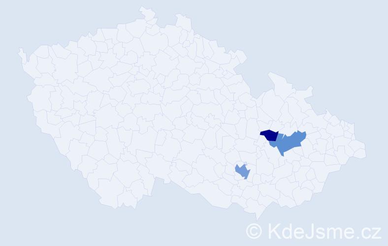 Příjmení: 'Hanina', počet výskytů 6 v celé ČR