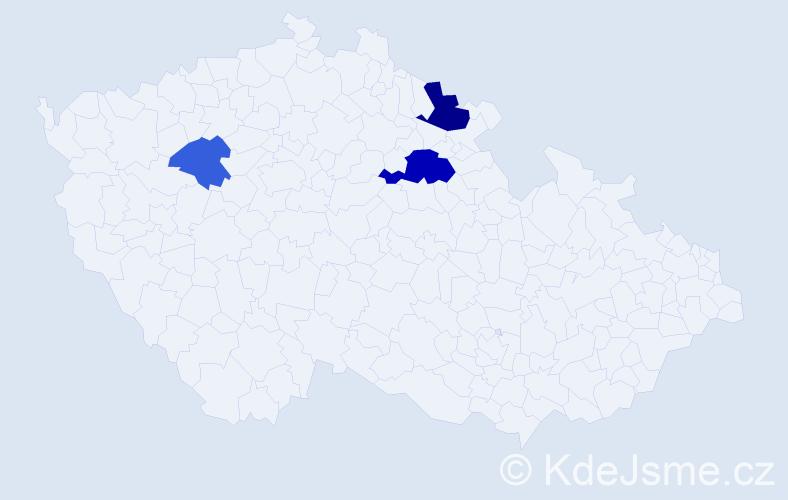 Příjmení: 'Kindernay', počet výskytů 6 v celé ČR