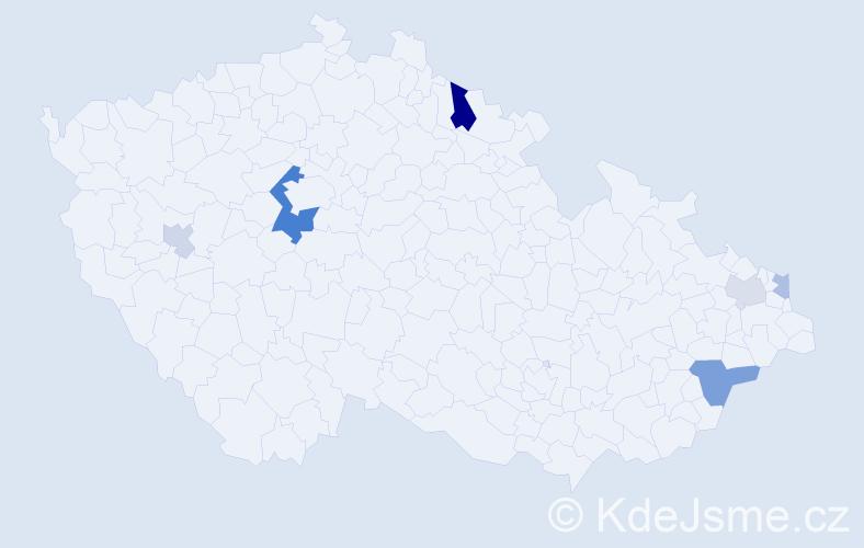 Příjmení: 'Hrkel', počet výskytů 13 v celé ČR