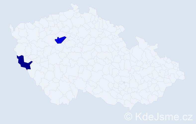 Příjmení: 'Bakaľár', počet výskytů 3 v celé ČR