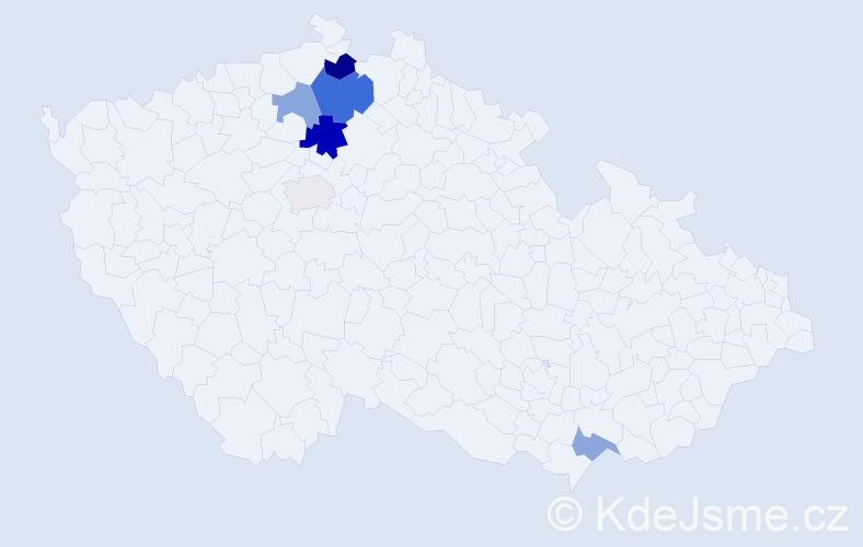 Příjmení: 'Hošmánková', počet výskytů 11 v celé ČR